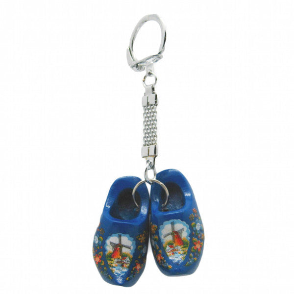 Wooden Shoe Clogs Keychain Blue - ScandinavianGiftOutlet