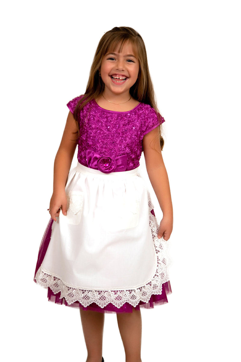 Girls Lace White Half Apron (Ages 4-16) - ScandinavianGiftOutlet