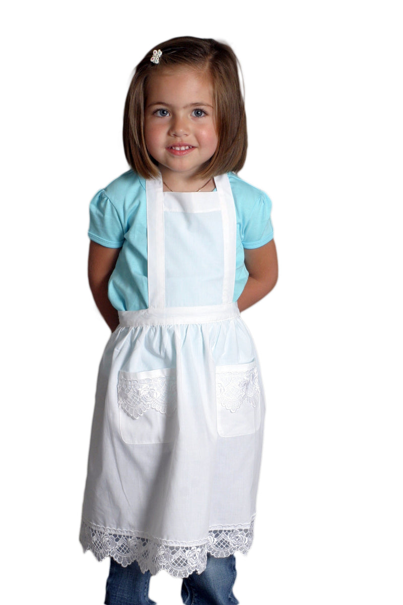 Girls Lace White Full Apron (Ages 2-8) - ScandinavianGiftOutlet