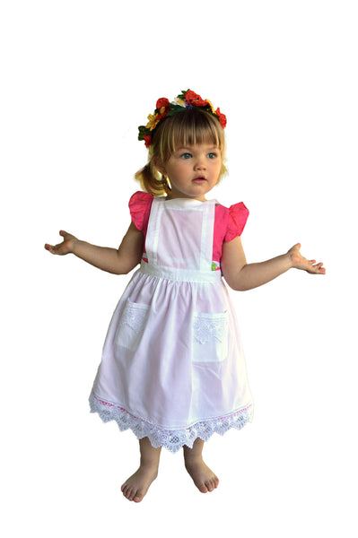 Girls Lace White Full Apron (Ages 2-8) - ScandinavianGiftOutlet  - 1