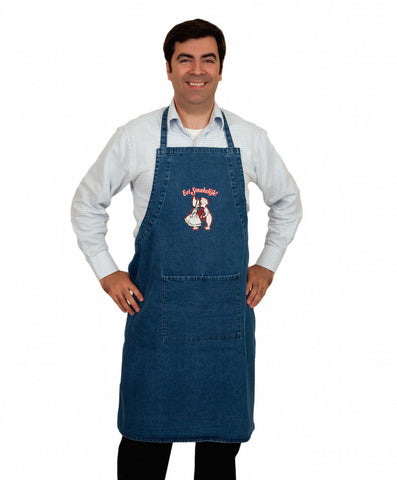 Embroidered Eet Smakelijk! Denim Apron - ScandinavianGiftOutlet