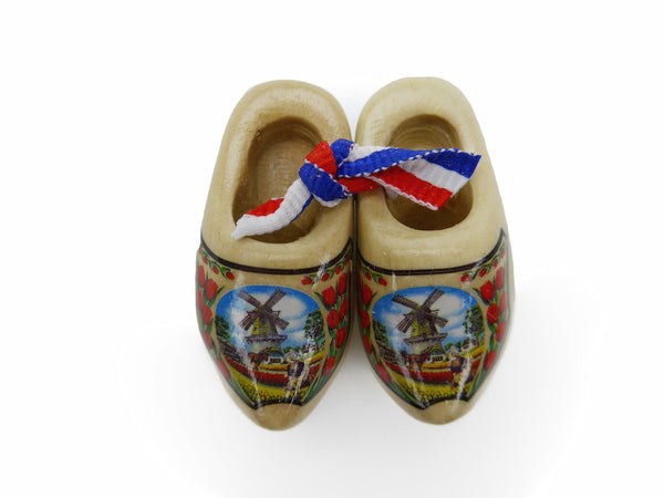 Wooden Shoes Magnetic Gift Natural Tulips - ScandinavianGiftOutlet