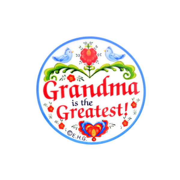 "Plate Magnet ""Grandma Is the Greatest"" - ScandinavianGiftOutlet"
