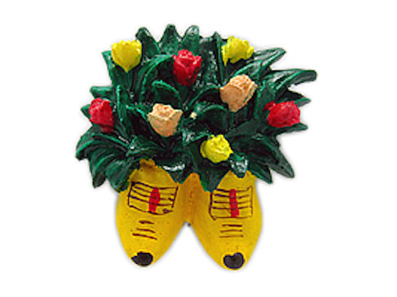 Kitchen Magnet Wooden Shoes with Flowers - ScandinavianGiftOutlet