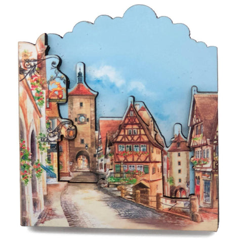 3-D Wood European Village Novelty Magnet  -1