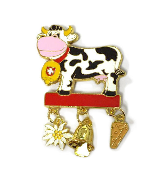 Collectible Metal Cow Magnet with Edelweiss, Bell, Cheese - Scandinaviangiftoutlet.com