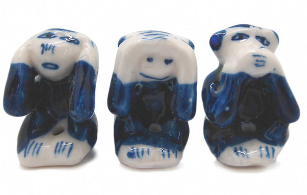Ceramic Miniatures Animals Delft Blue Monkey - ScandinavianGiftOutlet
