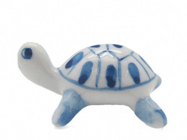 Ceramic Miniatures Animals Delft Blue Turtle - ScandinavianGiftOutlet