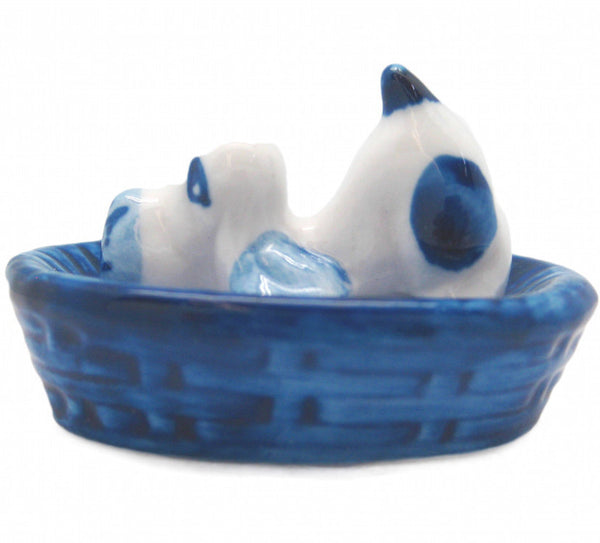 Miniature Animals Delft Blue Ceramic Dog Basket - ScandinavianGiftOutlet