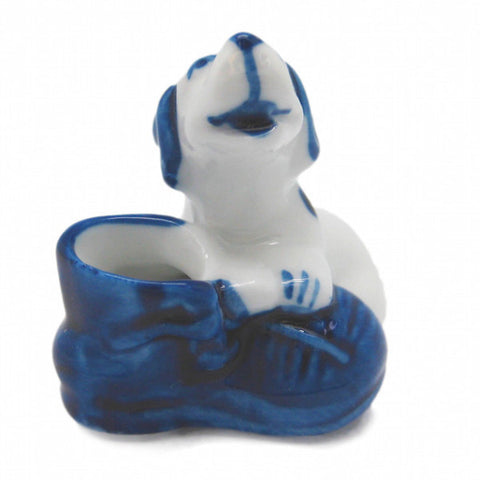 Animals Miniatures Delft Blue Dog In Shoe - ScandinavianGiftOutlet