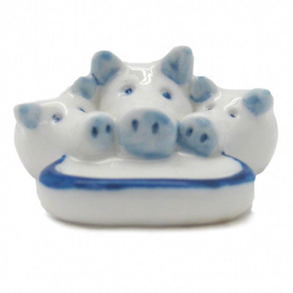 Porcelain Animals Miniatures Delft Blue Pig - ScandinavianGiftOutlet