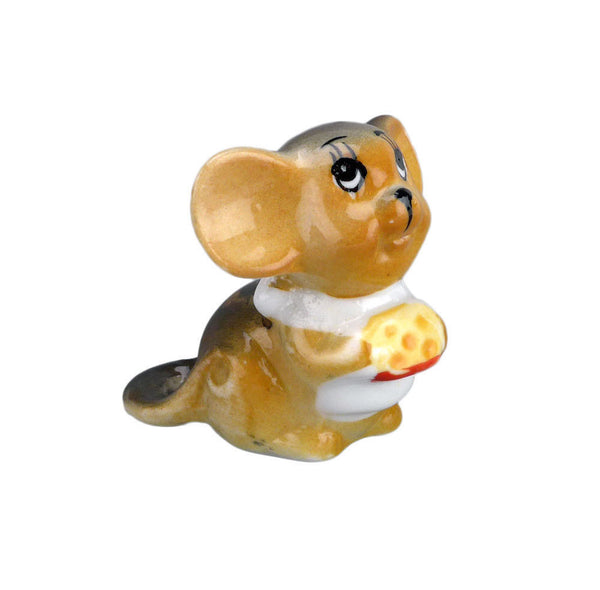 Ceramic Miniature Brown Mouse with Cheese - ScandinavianGiftOutlet