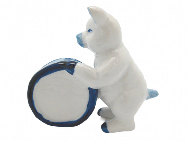 Miniature Musical Instrument Pig With Drum Delft Blue - ScandinavianGiftOutlet  - 1