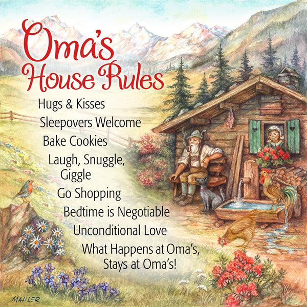 German Gift Magnet Oma House Rules - ScandinavianGiftOutlet