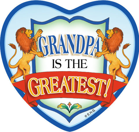 """Grandpa Is The Greatest"" Heart Fridge Magnet Tile - ScandinavianGiftOutlet"