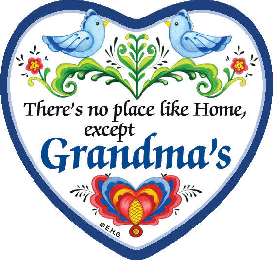 """There's No Place Like … Grandma's"" Heart Magnet Tile - Scandinaviangiftoutlet.com"