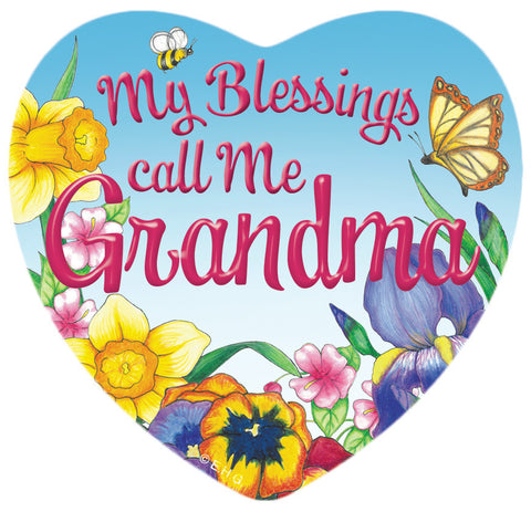 """My Blessings Call me Grandma"" Heart Fridge Magnet Tile - ScandinavianGiftOutlet"