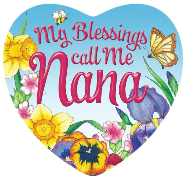 """My Blessings Call me Nana"" Heart Fridge Magnet Tile - ScandinavianGiftOutlet"