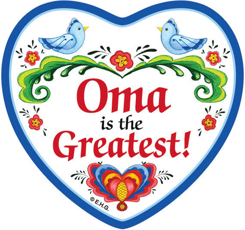 """Oma is the Greatest"" Heart Fridge Magnet Tile with Birds Design - ScandinavianGiftOutlet"