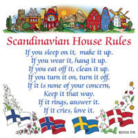 Swedish Gift Idea Magnet Tile (House Rules) - ScandinavianGiftOutlet