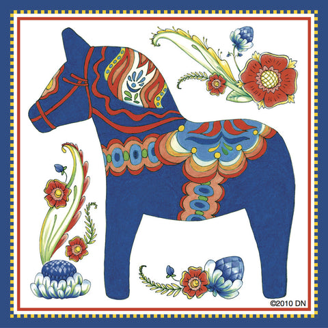 Dala Horse Decorative Magnet Tile (Blue) - ScandinavianGiftOutlet  - 1