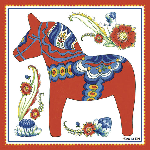 Dala Horse Decorative Kitchen Magnet Tile (Red) - ScandinavianGiftOutlet  - 1