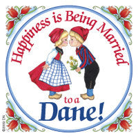 Danish Shop Magnet Tile (Happiness Married To Dane) - ScandinavianGiftOutlet