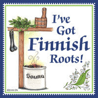Finnish Souvenirs Magnetic Tile: (Finnish Roots) - ScandinavianGiftOutlet
