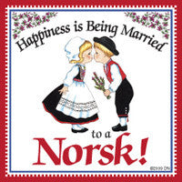 Norwegian Gift Magnet Tile (Happiness Married To Norsk) - ScandinavianGiftOutlet  - 1