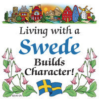 Swedish Souvenirs Magnet Tile (Living With Swede) - ScandinavianGiftOutlet
