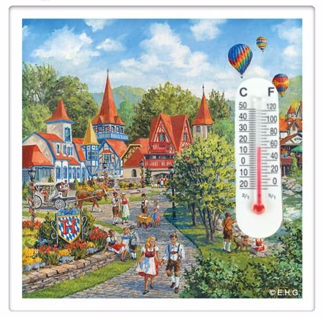 Alpine Village Thermometer Fridge Magnet Tile - ScandinavianGiftOutlet