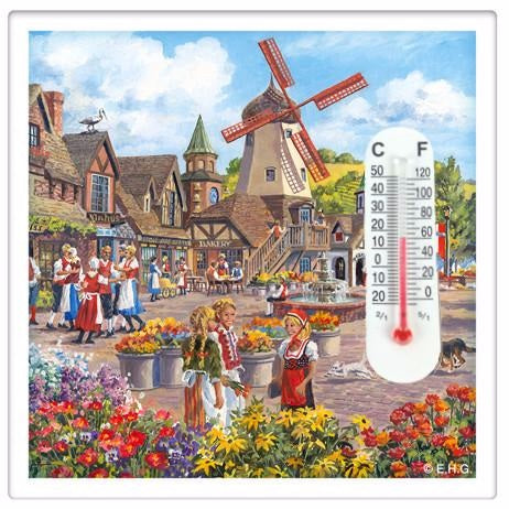 Windmill Scene Thermometer Fridge Magnet Tile - ScandinavianGiftOutlet