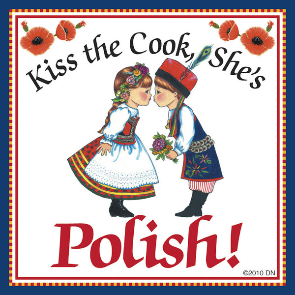 "Polish Gift Magnet Tile ""Kiss Polish Cook"" - ScandinavianGiftOutlet  - 1"
