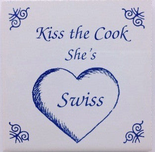 Swiss Culture Magnet Tile (Kiss Swiss Cook) - ScandinavianGiftOutlet