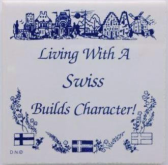 Swiss Culture Magnet Tile (Living With Swiss) - ScandinavianGiftOutlet