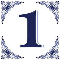 House Numbers Tile Blue and White - ScandinavianGiftOutlet  - 1