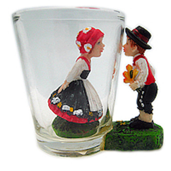 Souvenir Shot Glass: 3 D Scandinavian Couple - ScandinavianGiftOutlet