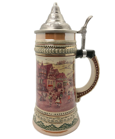 1 Liter German Village Dancers Beer Mug with Etched Metal Lid - ScandinavianGiftOutlet