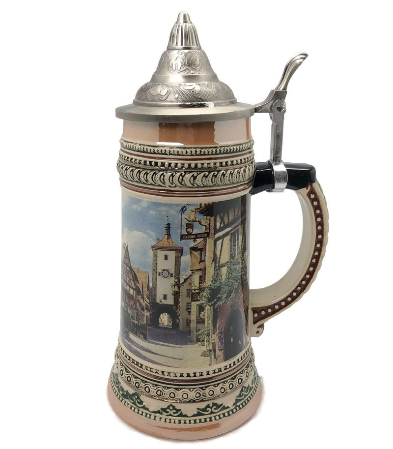 1 Liter Beer Stein of Rothenburg Germany with Etched Metal Lid - ScandinavianGiftOutlet