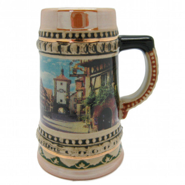Ceramic Beer Stein German Village Scene Shot - ScandinavianGiftOutlet