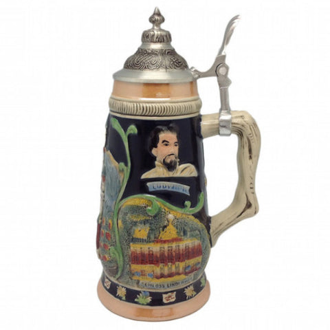 Ceramic Beer Stein Ludwig Theme w/Lid - ScandinavianGiftOutlet