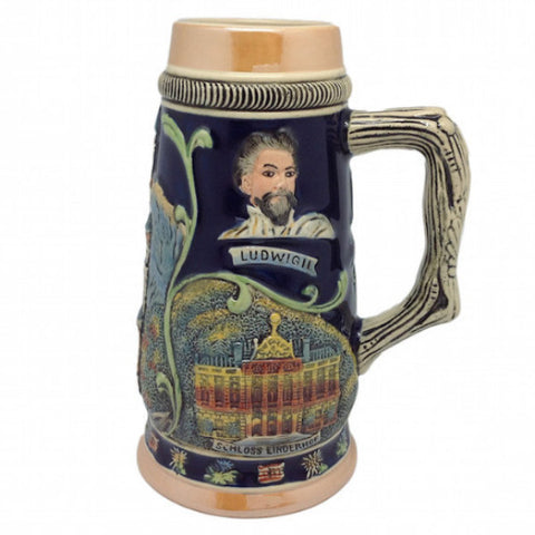 Ceramic Beer Stein Ludwig Theme no/Lid - ScandinavianGiftOutlet