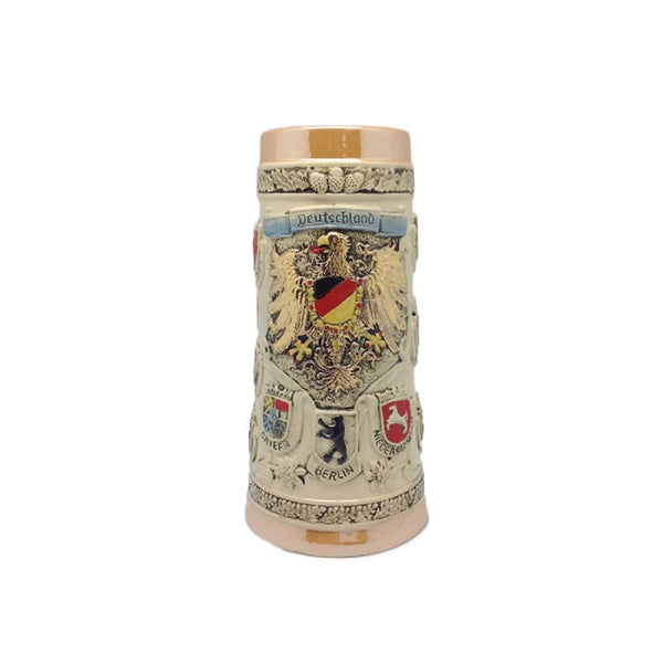 German Ceramic Stein Coat of Arms (no Lid) - ScandinavianGiftOutlet