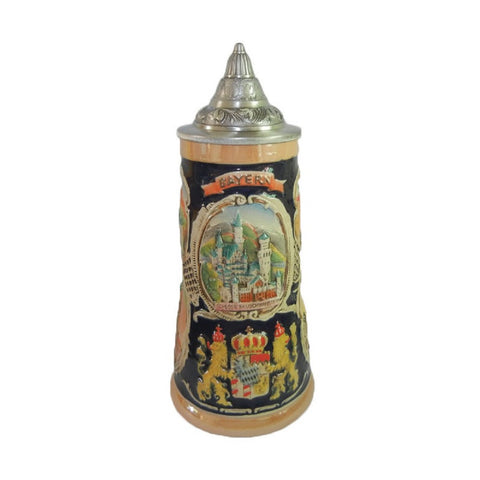 German Banner Collectible Beer Stein with Metal Lid