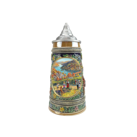 European Fall Beer Stein .5L with Embossed Metal Lid - ScandinavianGiftOutlet