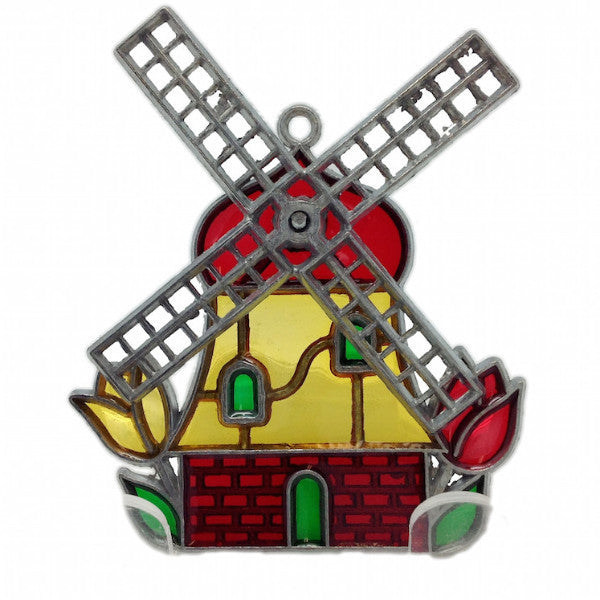 Small Windmill Sun Catcher with Tulips. - ScandinavianGiftOutlet