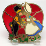 Red Heart Shaped Sun catcher with Kissing Couple - ScandinavianGiftOutlet