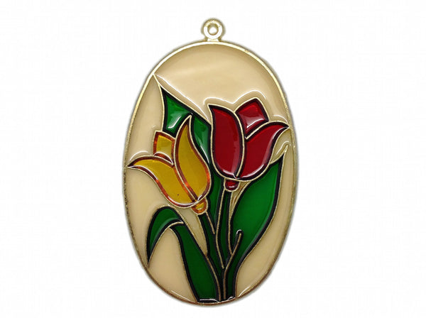 Clear Oval Sun Catcher with Red and Yellow Tulips - ScandinavianGiftOutlet