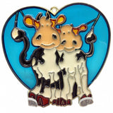 Blue Heart Shaped Sun Catcher with Cuddling Cows - ScandinavianGiftOutlet