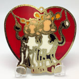 Red Heart Shaped Sun Catcher with Cuddling Cows - ScandinavianGiftOutlet